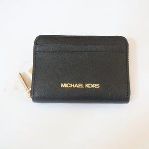Michael Kors JST Card Case Wallet Black/Gold